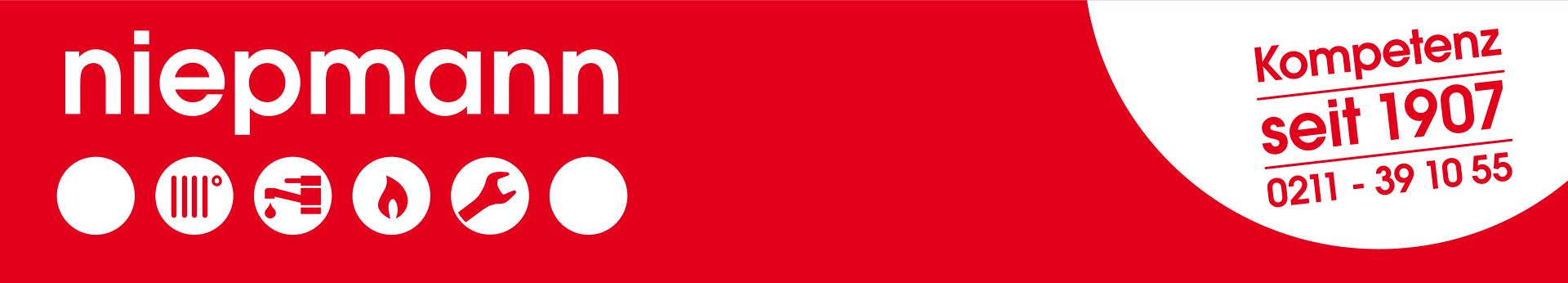 Logo der Firma Niepmann SHK. Kompetenz seit 1907 - 0211 391055