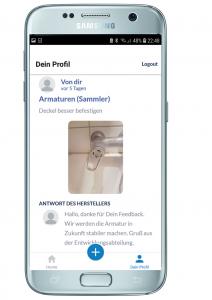 App: Profil mit Feedback History und Antwort von Hersteller