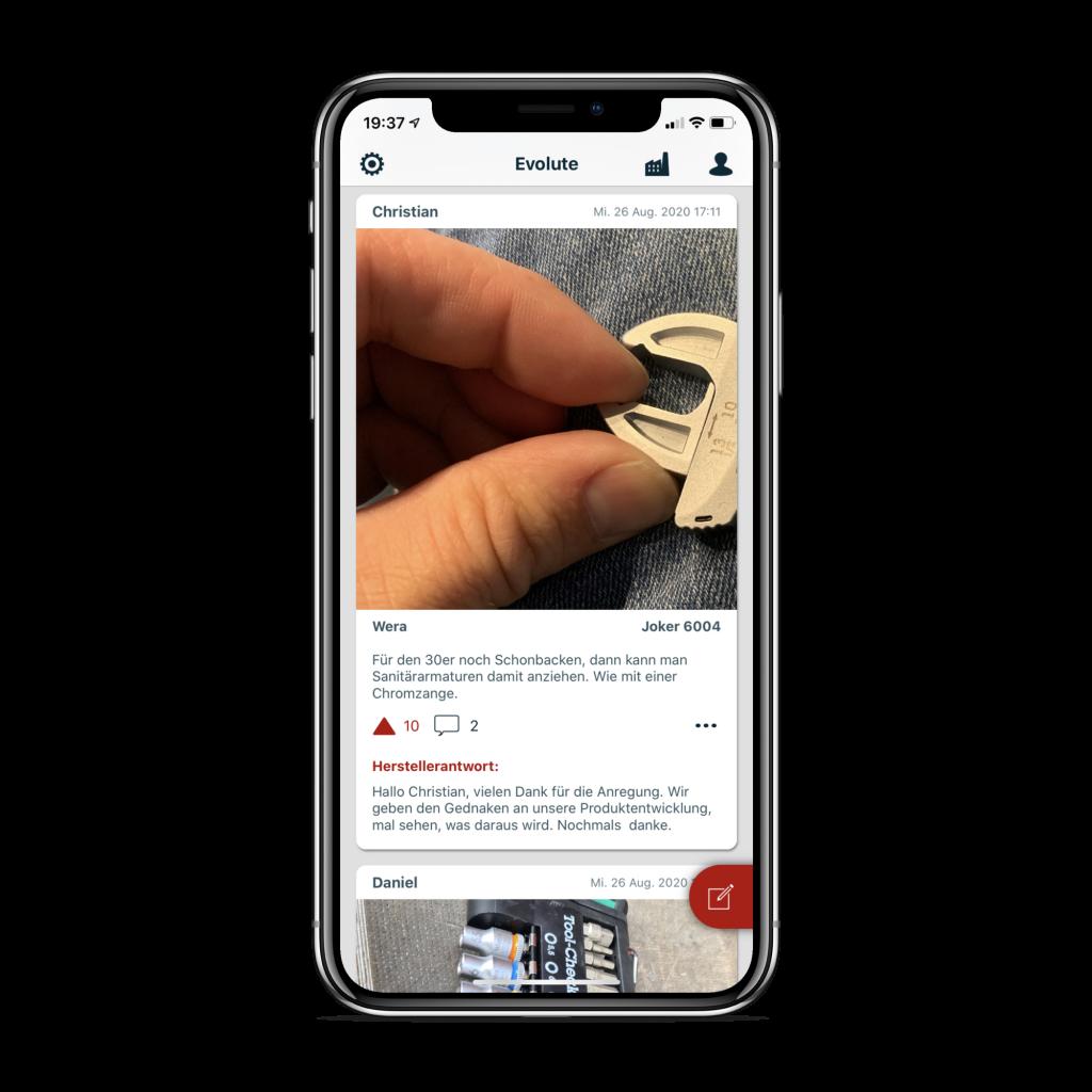 Evolute App: Feed mit Antwort des Herstellers