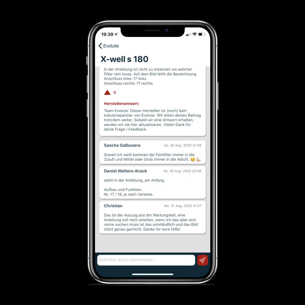Evolute App: Kommentarfunktion mit der sich Nutzer gegenseitig helfen können